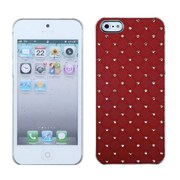 Insten® Luxurious Lattice Executive Dazzling Back Protector Cover W/Diamonds F/iPhone 5/5S, Red
