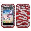 Insten® Diamante TUFF Hybrid Phone Protector Case For LG LW770, Red Zebra