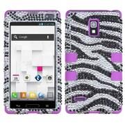 Insten® Diamante TUFF Hybrid Phone Protector Case For LG P769, Zebra/Electric Purple