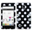 Insten® TUFF Hybrid Phone Protector Case For LG P769, White Polka Dots/Grey