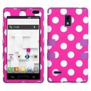 Insten® TUFF Hybrid Phone Protector Case For LG P769, White Polka Dots/Electric Purple