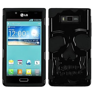 Insten® Protector Case F/LG US730 Splendor/730 Venice/L86c, Solid Black/Black Skullcap