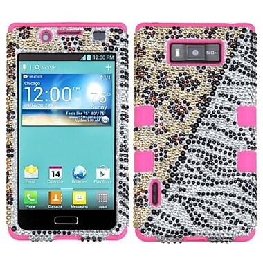 Insten® Diamante TUFF Hybrid Phone Protector Case For LG US730 Splendor, Hottie/Electric Pink