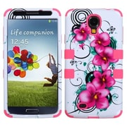 Insten® TUFF Hybrid Phone Protector Case For Samsung Galaxy S4, Morning Petunias/Electric Pink