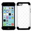 Insten® Luxurious Lattice Dazzling TotalDefense Protector Cover F/iPhone 5C, White/Black