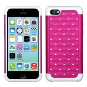 Insten® Luxurious Lattice Dazzling TotalDefense Protector Cover F/iPhone 5C, Hot-Pink/Solid White