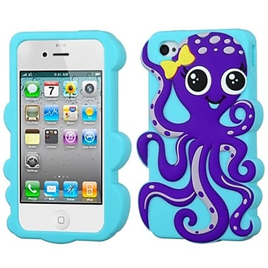 Insten® Pastel Skin Case F/iPhone 4/4S, Dark Purple/Baby Blue Octopus