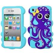 Insten® Pastel Skin Case F/iPhone 4/4S, Dark Purple/Baby Blue Octopus