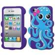 Insten® Pastel Skin Case F/iPhone 4/4S, Baby Blue/Blue Violet Octopus
