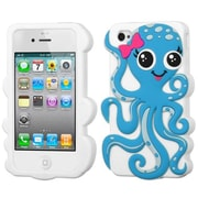 Insten® Pastel Skin Case F/iPhone 4/4S, Baby Blue/White Octopus
