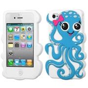 Insten® Pastel Skin Case F/iPhone 4/4S, Baby Blue/White Octopus