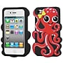 Insten® Pastel Skin Case F/iPhone 4/4S, Red/Black Octopus