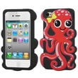 Insten® Pastel Skin Case F/iPhone 4/4S, Red/Black Octopus