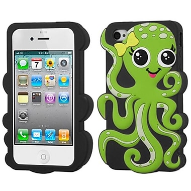Insten® Pastel Skin Case F/iPhone 4/4S, Green/Black Octopus