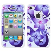 Insten® TUFF Hybrid Phone Protector Cover F/iPhone 4/4S, Purple Hibiscus Flower Romance/White