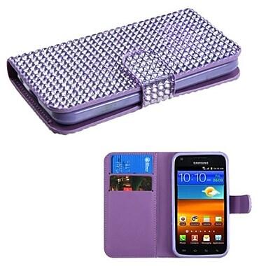 Insten® Diamonds Book-Style MyJacket Wallet For Samsung D710, R760, Galaxy S II S2 4G, Purple