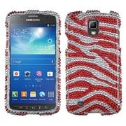 Insten® Diamante Protector Case For Samsung i537 (Galaxy S4 Active), Zebra (Silver/Red)