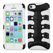 Insten® Ribcage Hybrid Rubberized Protector Case F/iPhone 5C, Black/Solid White