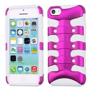 Insten® Ribcage Hybrid Protector Case F/iPhone 5C, Titanium Solid Hot-Pink/Solid White