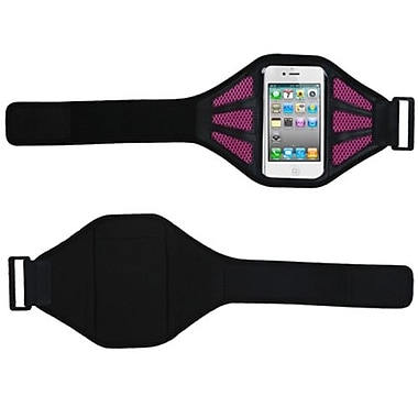 Insten® Vertical Pouch Universal Sport Armband W/Hot-Pink Mess Ports, Black