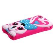 Insten® Pastel Skin Case F/iPhone 4/4S, Baby Blue/Hot-Pink Rabbit