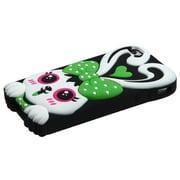 Insten® Pastel Skin Case F/iPhone 4/4S, Green/Black Rabbit