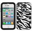 Insten® TUFF eNUFF Hybrid Phone Protector Cover F/iPhone 4/4S, Natural Black/White Zebra Skin