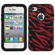 Insten® TUFF eNUFF Hybrid Phone Protector Cover F/iPhone 4/4S, Natural Black/Red Zebra Skin