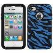 Insten® TUFF eNUFF Hybrid Phone Protector Cover F/iPhone 4/4S, Natural Black/Dark Blue Zebra Skin