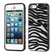 Insten® Gummy Cover F/iPhone 5/5S, Transparent Clear/Solid Black Zebra Skin