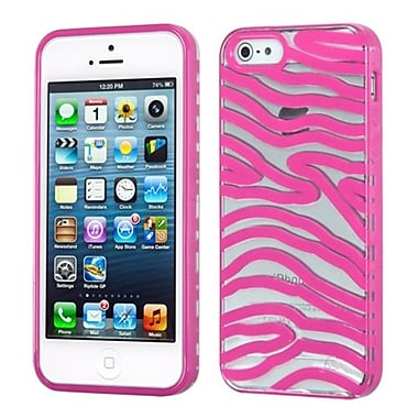 Insten® Gummy Cover F/iPhone 5/5S, Transparent Clear/Solid Hot-Pink Zebra Skin