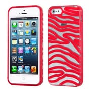 Insten® Gummy Cover F/iPhone 5/5S, Transparent Clear/Solid Red Zebra Skin