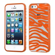 Insten® Gummy Cover F/iPhone 5/5S, Transparent Clear/Solid Orange Zebra Skin