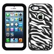 Insten® TUFF eNUFF Hybrid Phone Protector Cover F/iPhone 5/5S, Natural Black/White Zebra Skin