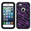 Insten® TUFF eNUFF Hybrid Phone Protector Cover F/iPhone 5/5S, Natural Black/Purple Zebra Skin