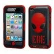 Insten® AlienHead Hybrid Phone Protector Cover For iPod Touch 4th Gen, Natural Black/Red