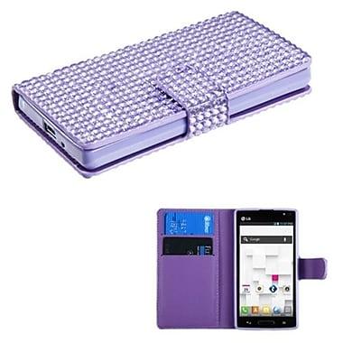 Insten® Book-Style MyJacket Wallet For LG P769, Purple Diamonds