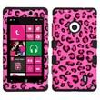 Insten® TUFF Hybrid Phone Protector Case For Nokia Lumia 521, Pink Leopard Skin/Black