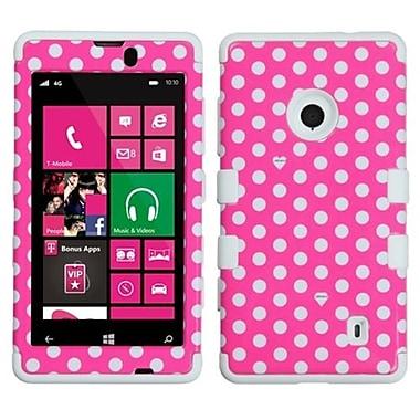 Insten® TUFF Hybrid Phone Protector Case For Nokia Lumia 521, Pink/White Dots