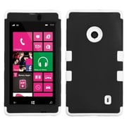 Insten® Rubberized TUFF Hybrid Phone Protector Case For Nokia Lumia 521, Black/Solid White