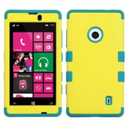 Insten® Rubberized TUFF Hybrid Phone Protector Case For Nokia Lumia 521, Yellow/Tropical Teal