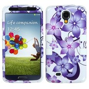Insten® TUFF Hybrid Phone Protector Case For Samsung Galaxy S4, Purple Hibiscus Flower Romance/White