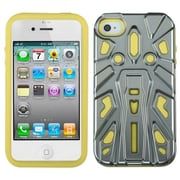 Insten® Zenobots Hybrid Protector Cover F/iPhone 4/4S, Silver Plating/Yellow