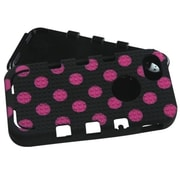 Insten® TUFF eNUFF Hybrid Phone Protector Cover F/iPhone 5/5S, Natural Black/Pink Polka Dots