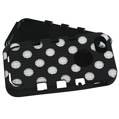 Insten® TUFF eNUFF Hybrid Phone Protector Cover F/iPhone 5/5S, Natural Black/White Polka Dots