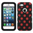 Insten® TUFF eNUFF Hybrid Phone Protector Cover F/iPhone 5/5S, Natural Black/Red Polka Dots