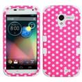 Insten® TUFF Hybrid Protector Case For Motorola X, Pink/White Dots