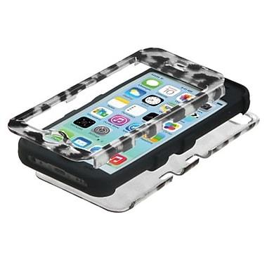 Insten® TUFF Hybrid Phone Protector Cover F/iPhone 5C, Black Leopard (2D Silver)/Black