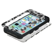 Insten® TUFF Hybrid Phone Protector Cover F/iPhone 5C, Black Leopard (2D Silver)/Black