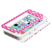 Insten® TUFF Hybrid Phone Protector Cover F/iPhone 5C, Pink/White Dots/White